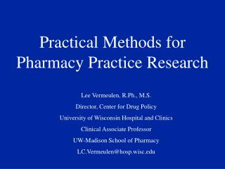 Practical Methods for Pharmacy Practice Research