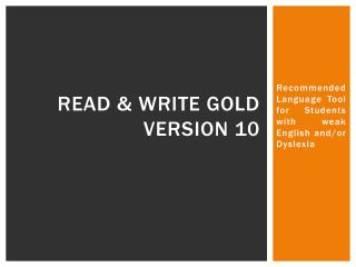 READ & WRITE GOLD VERSION 10