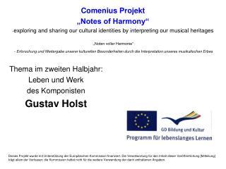 Thema im zweiten Halbjahr: Leben und Werk des Komponisten Gustav Holst