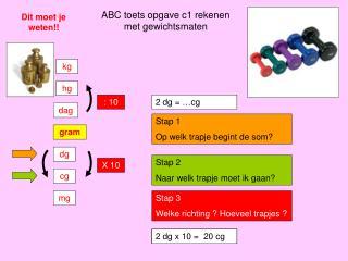 ABC toets opgave c1 rekenen met gewichtsmaten