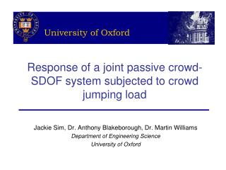 Response of a joint passive crowd-SDOF system subjected to crowd jumping load