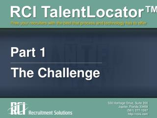 RCI TalentLocator, Part 1 - The Challenge