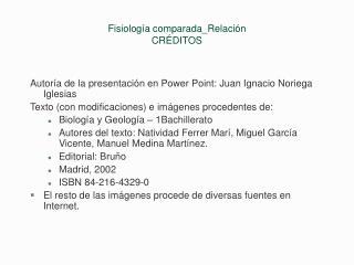 Fisiología comparada_Relación CRÉDITOS