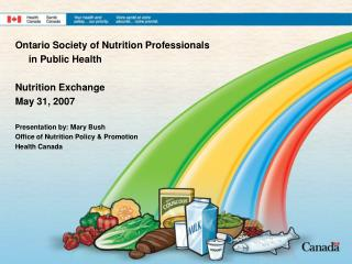 Ontario Society of Nutrition Professionals       in Public Health Nutrition Exchange May 31, 2007