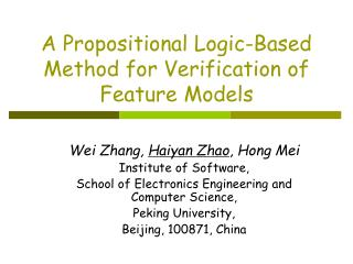 A Propositional Logic-Based Method for Verification of Feature Models