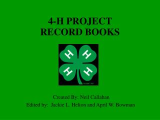 4-H Project Record Book Guide