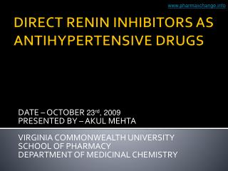 DIRECT RENIN INHIBITORS AS ANTIHYPERTENSIVE DRUGS
