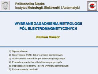Politechnika  Ś l ą ska Instytut Metrologii, Elektroniki i Automatyki