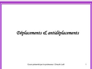 Déplacements & antidéplacements