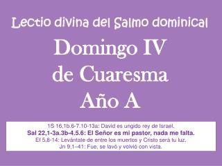 Lectio divina del Salmo dominical Domingo IV  de Cuaresma Año A