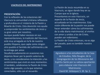 VIACRUCIS DEL MATRIMONIO PRESENTACIÓN: