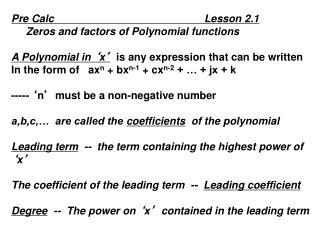 Pre Calc                                                   Lesson 2.1