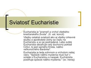 Sviatosť Eucharistie