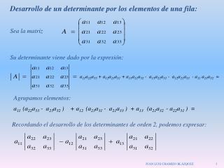 Desarrollo de un determinante por los elementos de una fila: