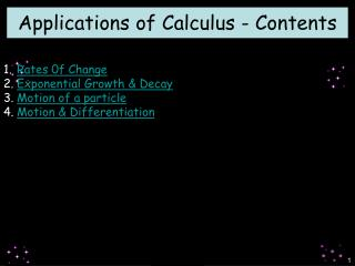 Applications of Calculus - Contents