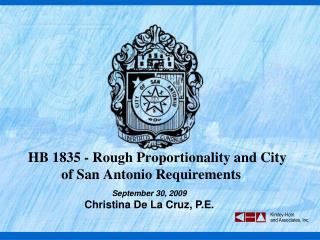 HB 1835 - Rough Proportionality and City of San Antonio Requirements
