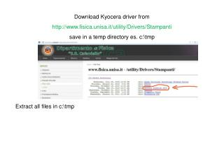 Download Kyocera driver from fisica.unisa.it/utility/Drivers/Stampanti