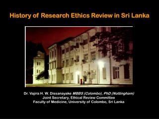 History of Research Ethics Review in Sri Lanka