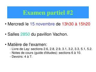Examen partiel #2