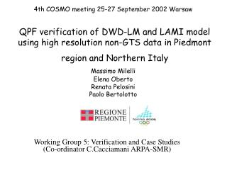 Working Group 5: Verification and Case Studies (Co-ordinator C.Cacciamani ARPA-SMR)