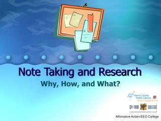 Note Taking and Research