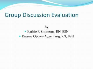 Group Discussion Evaluation