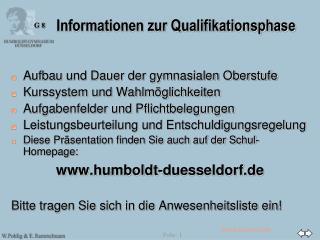 Informationen zur Qualifikationsphase