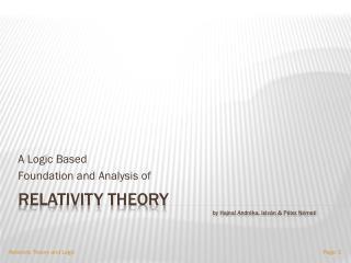 Relativity Theory by  Hajnal Andréka ,  István  &  Péter  Németi
