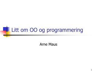 Litt om OO og programmering