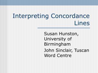 Interpreting Concordance Lines