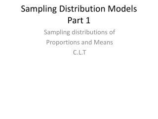 Sampling Distribution Models Part 1