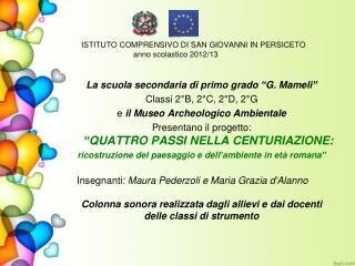 ISTITUTO COMPRENSIVO DI SAN GIOVANNI IN PERSICETO  anno scolastico 2012/13