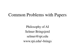 Common Problems with Papers