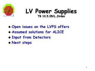 LV Power Supplies TB 10.5.05/L.Jirden