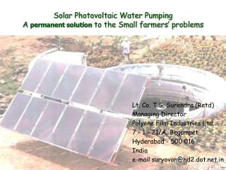 Solar Photovoltaic Water Pumping A  permanent solution  to the Small farmers' problems