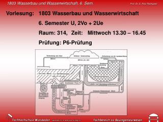 Vorlesung: 1803 Wasserbau und Wasserwirtschaft 6. Semester U, 2Vo + 2Ue