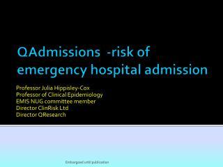 QAdmissions  -risk of emergency hospital admission
