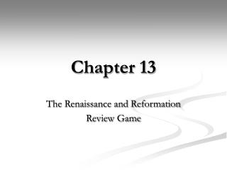 The Renaissance and Reformation Review Game