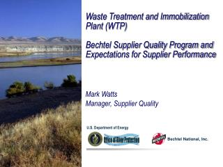 Waste Treatment and Immobilization Plant (WTP)
