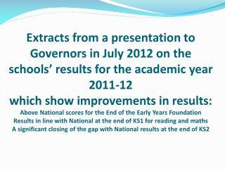 End of EYFS Assessment 2012