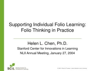 Supporting Individual Folio Learning: Folio Thinking in Practice