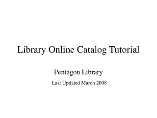 Library Online Catalog Tutorial