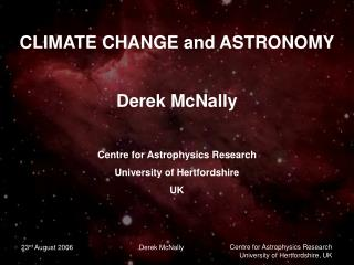 CLIMATE CHANGE and ASTRONOMY