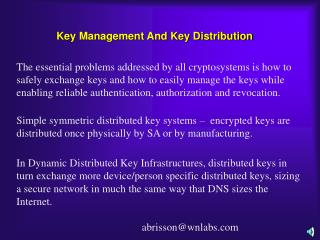 Key Management And Key Distribution