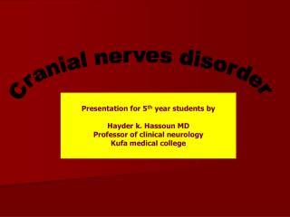 Cranial nerves disorder