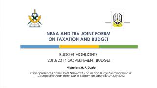 NBAA AND TRA JOINT FORUM  ON TAXATION AND BUDGET
