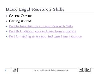 Basic Legal Research Skills