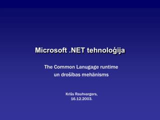 Microsoft .NET tehnoloģija