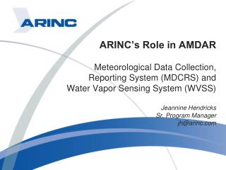 ARINC�s Role in AMDAR