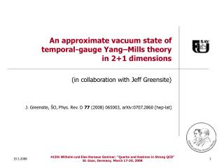 An approximate vacuum state of  temporal-gauge Yang–Mills theory  in 2+1 dimensions